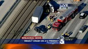 deadly multi vehicle crash shuts down eastbound 210 freeway in
