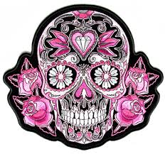 sugar skulls pink roses sugar skull patch embroidered iron on