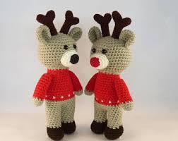 Stuffed Reindeer Christmas Decorations amigurumi reindeer etsy
