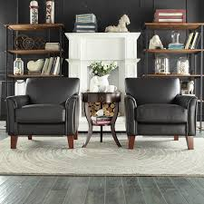 Leather Accent Chairs For Living Room Tribecca Home Uptown Modern Brown Faux Leather Accent Chair