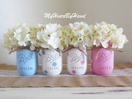 Vase Centerpieces For Baby Shower Gender Reveal Baby Shower Mason Jars Pink And Blue Polka