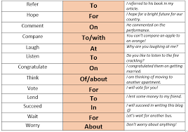 verb pattern of like prepositions english