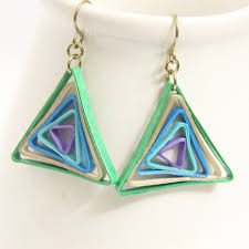 niobium earrings triangle swirl geometric peacock niobium honeysquilling