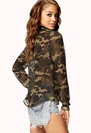 camo blouse lyst forever 21 camo print chiffon shirt in green