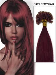 Hair Extensions U Tip by Burgundy Straight Keratin Nail U Tip Indian Remy Human Hair Extensions