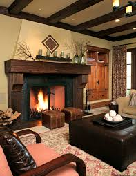 fireplace cathedral ceiling with fireplace mantel and glass doors