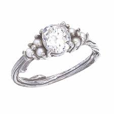 pearl and diamond engagement rings custom antique diamond and pearl engagement ring with nature