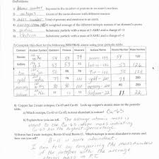 atomic structure worksheet answers the best and most