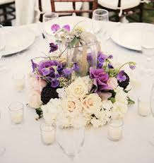 Purple Centerpieces Simple Wedding Centerpiece Arrangement With White And Purple