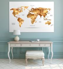 Large World Map Large Gold World Map Canvas Print Set Geometric Gold Map Of The