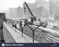 second berlin working squads from east berlin build a new second wall the