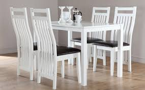 fabulous white wooden dining table and chairs intended for