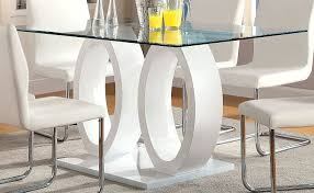 Dining Room Tables White by Amazon Com Furniture Of America Quezon Glass Top Double Pedestal