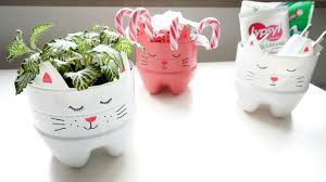 how to make a recycled soda bottle kitty planter organizer youtube