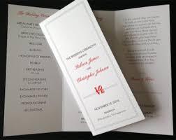 trifold wedding program paper wedding invitations philadelphia etsy