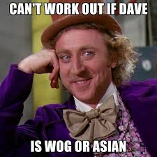 Wog Memes - can t work out if dave is wog or asian create meme