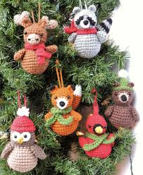 crochet christmas ornament pattern woodland animal crochet