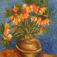 crown imperial fritillaries in a copper vase vincent van gogh art