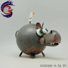 metal handcraft hippo figurine for gsrden ornament buy metal