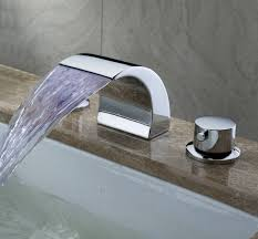 waterfall faucet for bathroom sink greenspring widespread bathroom sink faucet led color light two