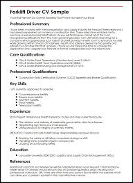Steward Resume Sample by Forklift Driver Cv Sample Myperfectcv