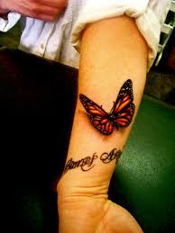 3d butterfly tattoos with words design idea