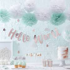 rose gold hello world baby shower bunting banner by ginger ray