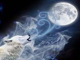 white wolf with blue howling