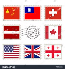Country Flag Images Country Flags Stamp Set China Taiwan Stock Vector 363658667