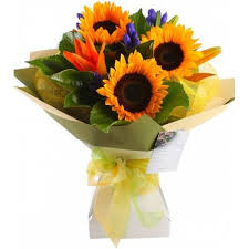 bouquet of sunflowers colorful sunflower 3 stems bouquet