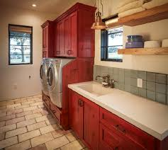 laundry room floor cabinets brick flooring and red painted cabinet for rustic laundry room decor