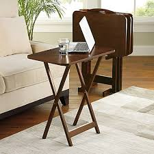 folding oversized wood tray table in espresso hamilton 5 piece snack tray table set bed bath beyond