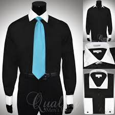 modena black 20 36 37 white collar french cuff dress shirt cotton
