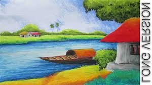 simple landscape episode paintings of nature drawing pictures pastel painting oil pastel landscape drawing tutorial long
