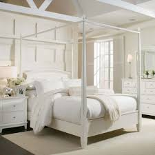 bedroom furniture white polished wooden king size canopy bed