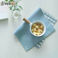 Japanese Desk Accessories Japanese Style Blue Plaid Polyester Rectangle Placemat Yarn Dyed