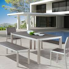 Outdoor Dining Set With Bench Melun Modern Outdoor Dining Bench Eurway Furniture