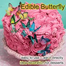 aliexpress com buy edible butterflies for cake 34pcs 3d edible