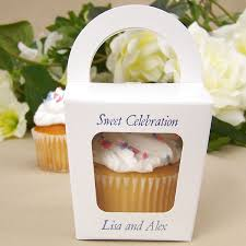 personalized wedding favor boxes 3 x 3 custom printed handle top window cupcake favor boxes