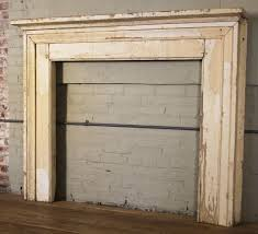 antique vintage rustic distressed painted wooden fireplace mantle