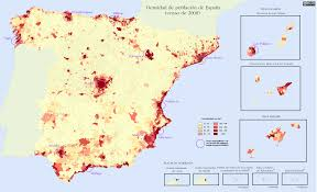 Zaragoza Spain Map by Quantitative Population Density Map Of Spain Lighter Colors