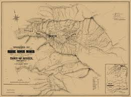 Nevada County Map Old Mining Map Reese River Mines Nevada 1863