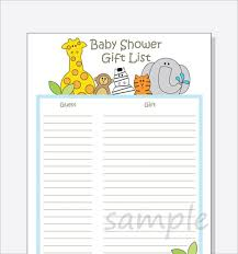 baby shower gift list template 8 free sle exle format