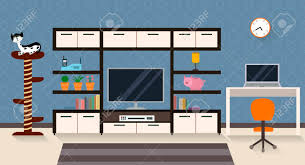 livingroom cartoon interior of a living room with furniture tv and a cute cat with