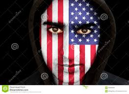 Flag Face Portrait Of A Man With Usa Flag Face Paint Stock Photo Image