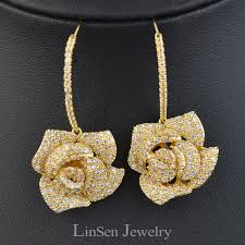 real gold earrings aliexpress buy luxury micro pave aaa zircon flower