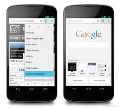 browsers for android mobile chrome for android beta brings homescreen bookmarks and new tab page