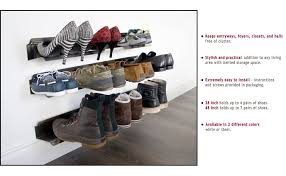 Wall Hung Shoe Cabinet Amazon Com J Me Horizontal Shoe Rack Organizer Mounted Wall