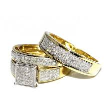 his and hers engagement rings sets wedding rings set trio 10k yellow gold 0 6cttw i2 i3