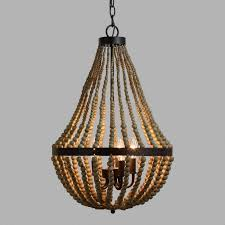 Iron And Wood Chandelier Small Wood Bead Chandelier World Market